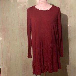 Mittoshop long sleeve burgundy T-shirt dress